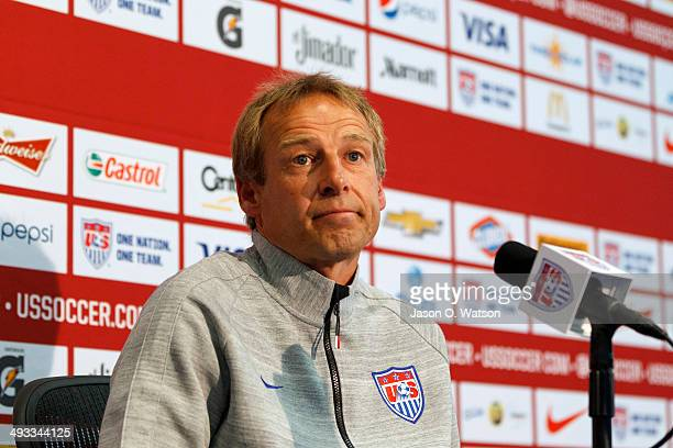 S Men's National Soccer Team Head Coach Jurgen Klinsmann speaks during a press conference at Stanford University on May 23 2014 in Palo Alto...