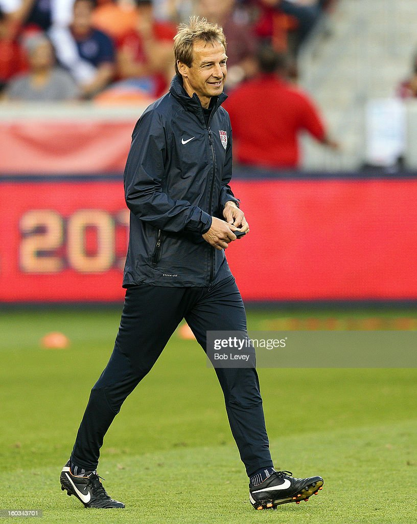 U.S. Men's National Team head coach <a gi-track='captionPersonalityLinkClicked' href=/galleries/search?phrase=Jurgen+Klinsmann&family=editorial&specificpeople=228023 ng-click='$event.stopPropagation()'>Jurgen Klinsmann</a> watches over the training session at BBVA Compass Stadium on January 28, 2013 in Houston, Texas. The U.S. Men's National Team will play Canada on January 29.