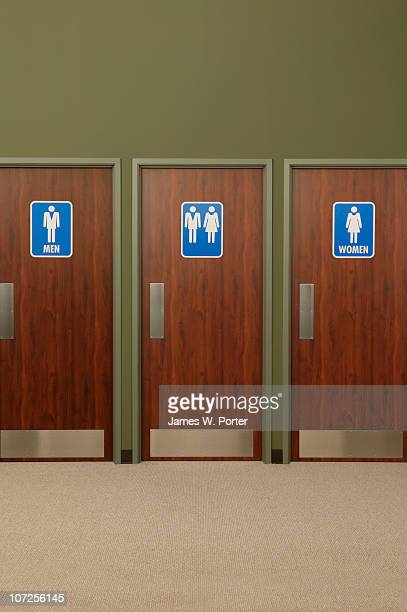 Men's room, women's room, and unisex bathroom