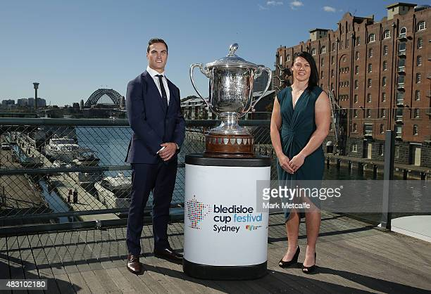 Men's Sevens captain Ed Jenkins and Women's captain Sharni Williams pose with the Bledisloe Cup trophy during the 2015 BCF Women In Business Sport...