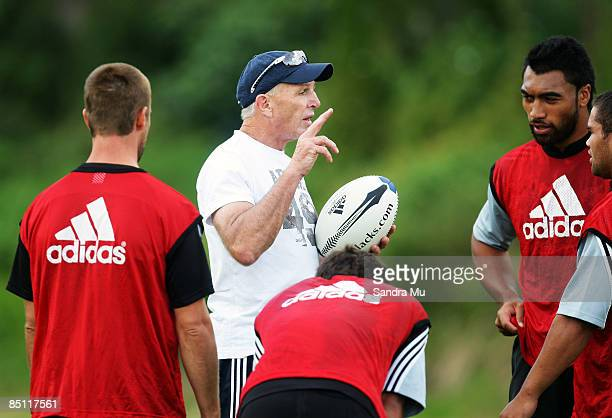 Men's Sevens coach Gordon Tietjens talks to the players during a men's and women's New Zealand sevens teams joint training session at Auckland...