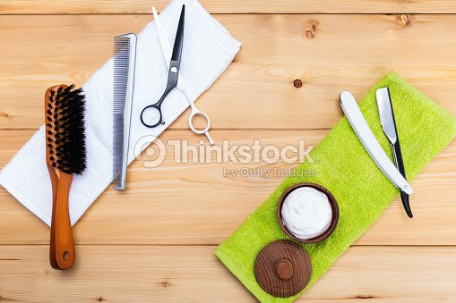 Mens Shaving Kit And Haircuts On The Towel Stock Photo