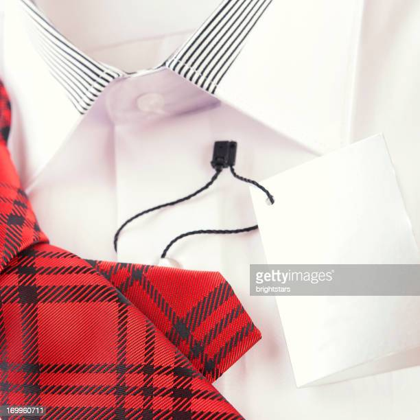 Men's shirt and necktie with blank label
