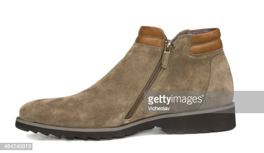 Mens suede and leather ankle high shoe : Stock Photo
