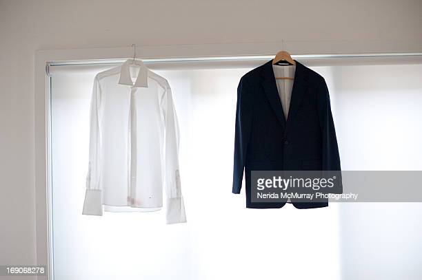 Men's suit jacket and white shirt