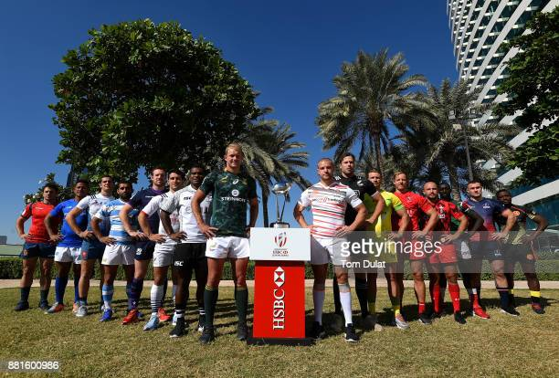 Men's team captains pose for photos with the Dubai Sevens Trophy during the Emirates Dubai Rugby Sevens HSBC Sevens World Series photocall on...