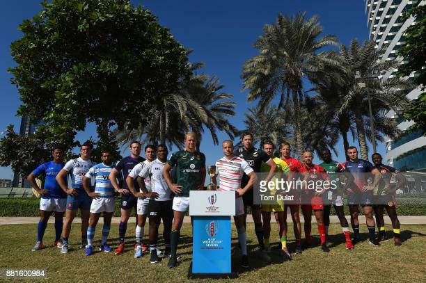 Men's team captains pose for photos with the Rugby World Cup Sevens Trophy during the Emirates Dubai Rugby Sevens HSBC Sevens World Series photocall...