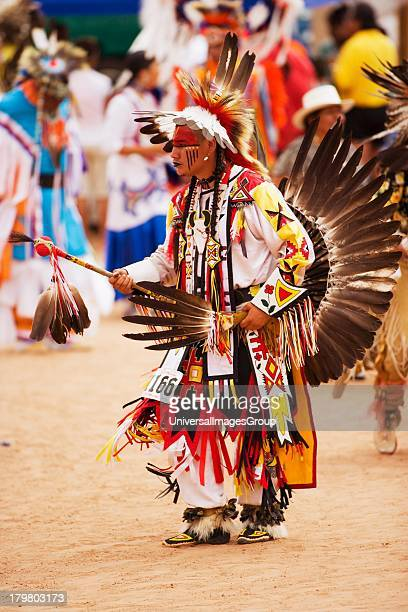 Mens traditional dancers in powwow Gallup InterTribal Indian Ceremonial Gallup New Mexico