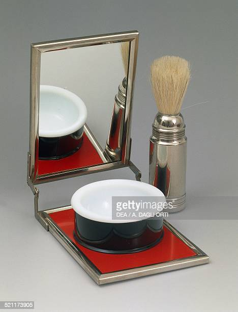 Men's travel shaving set with brush bowl and mirror 19501959 Italy 20th century Italy