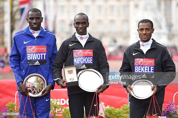 Mens winner Eliud Kipchoge poses with 2nd place Stanley Biwott and 3rd place Kenenisa Bekele during the Virgin London Marathon 2016 on April 24 2016...