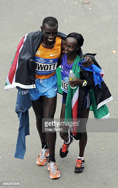 Men's winner Stanley Biwott of Kenya and Women's winner Mary Keitany of Kenya at TAG Heuer Official Timekeeper and Timepiece of 2015 TCS New York...