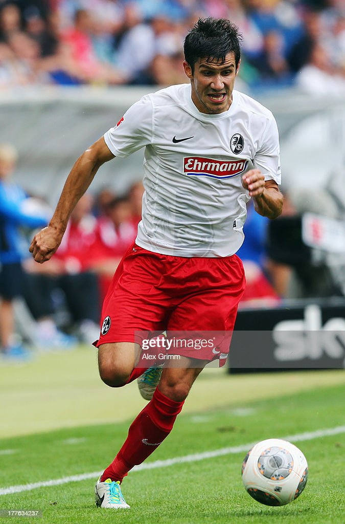 Mensur Mujdza of Freiburg controles the ball during the Bundesliga match between 1899 Hoffenheim and SC Freiburg at Wirsol Rhein-Neckar-Arena on August 24, 2013 in Sinsheim, Germany.