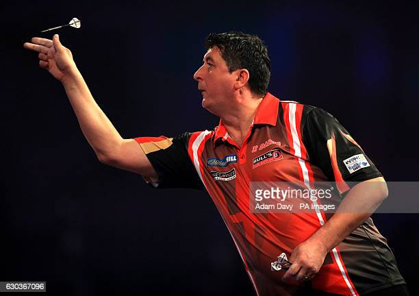 Mensur Suljovic during day seven of the William Hill World Darts Championship at Alexandra Palace London