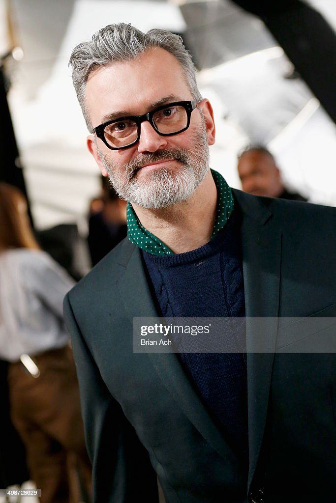 Menswear designer Frank Muytjens poses at the J.Crew presentation during Mercedes-Benz Fashion Week Fall 2014 at The Pavilion at Lincoln Center on February 11, 2014 in New York City.