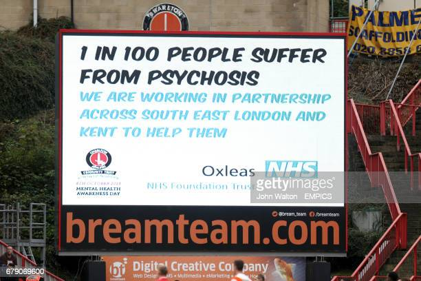 Mental Health awareness adverts run on the giant screen at The Valley