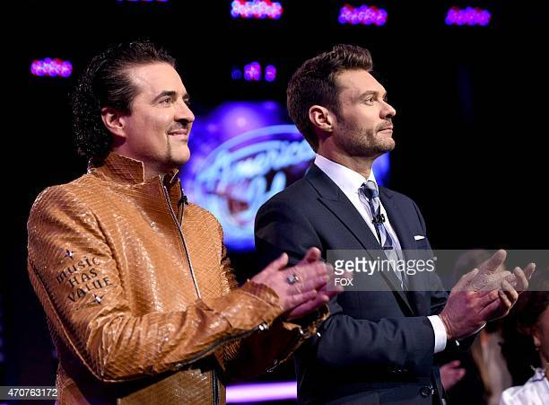Mentor and President and CEO of the Big Machine Label Group Scott Borchetta and host Ryan Seacrest onstage at FOX's 'American Idol XIV' Top 5...