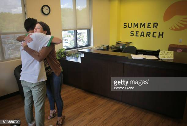 Mentor Claire Marian right and student Manuel Quesada Nylen left hug goodbye after their last meeting before he leaves for the summer in Boston June...