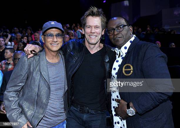 Mentor Jimmy Iovine actor Kevin Bacon and judge Randy Jackson at FOX's 'American Idol' Season 12 Top 6 To 5 Live Elimination Show on April 11 2013 in...
