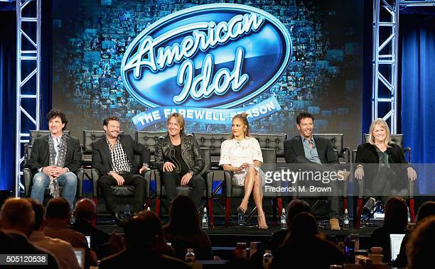 Mentor Scott Borchetta Host Ryan Seacrest Judge Keith Urban Judge Jennifer Lopez Judge Harry Connick Jr and Executive Producer Trish Kinane speak...