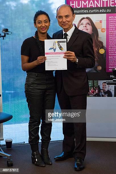 Mentorship winner Mallory MadukaIke with Jimmy Choo at Fashion Tank Perth on April 10 2015 in Perth Australia Designer Professor Datuk Jimmy Choo in...