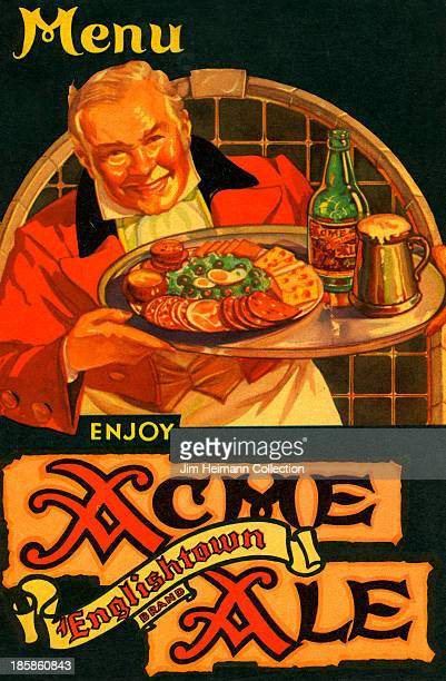 A menu for Acme Ale reads 'Enjoy Acme Ale Englishtown Brand' from 1938 in USA