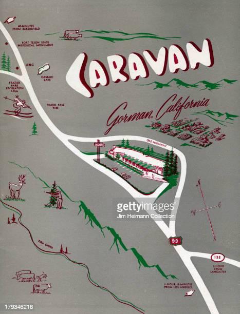 A menu for Caravan reads 'Caravan Gorman California' from 1952 in USA