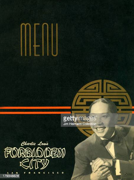 A menu for Charlie Low's Forbidden City reads 'Charlie Low's Forbidden City' from 1945 in USA