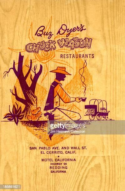 A menu for Chuck Wagon Restaurants reads 'Chuck Wagon Restaurants' from 1955 in USA