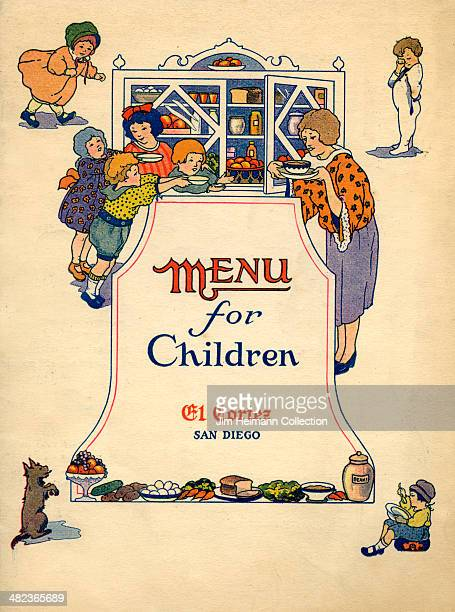 A menu for El Cortez reads 'Menu for Children El Cortez San Diego' from 1925 in USA