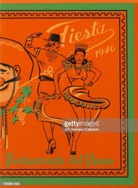 A menu for El Paseo reads 'Fiesta 1946 Restaurante Paseo' from 1946 in USA