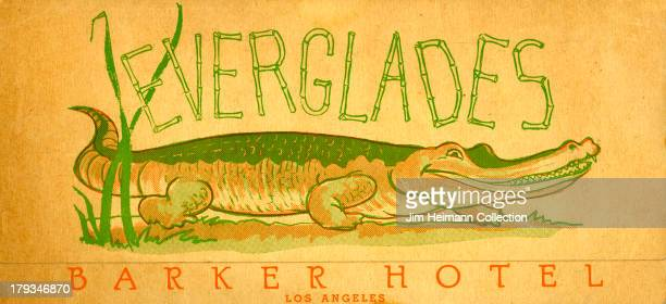 A menu for Everglades Barker Hotel reads 'Everglades Barker Hotel Los Angeles' from 1940 in USA