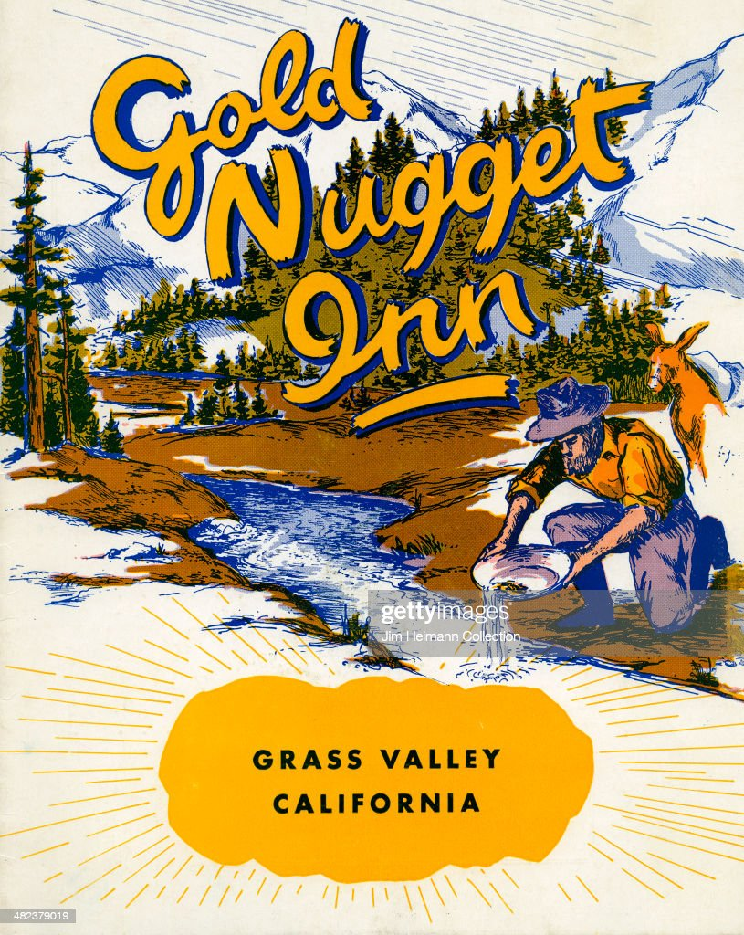 A menu for Gold Nugget Inn reads 'Gold Nugget Inn' from 1952 in USA