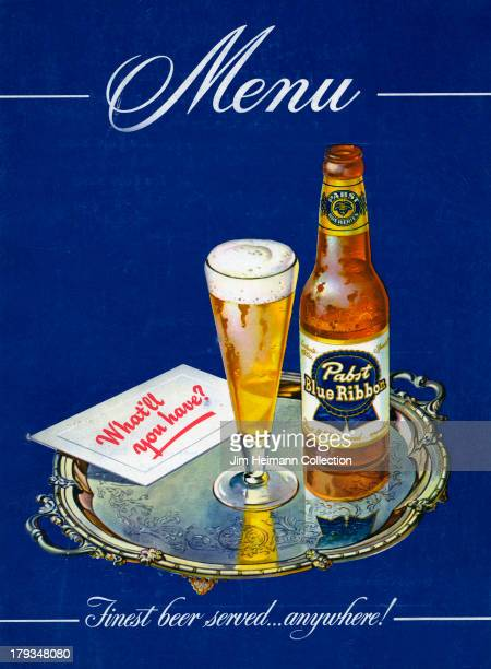 A menu for Pabst Blue Ribbon reads 'Menu Finest beer servedanywhere' from 1949 in USA