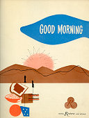 A menu for Riviera reads 'Riviera Good Morning' from 1956 in USA