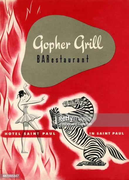 A menu for Saint Paul Hotel reads 'Gropher Grill Hotel Saint Paul In Saint Paul' from 1950 in USA