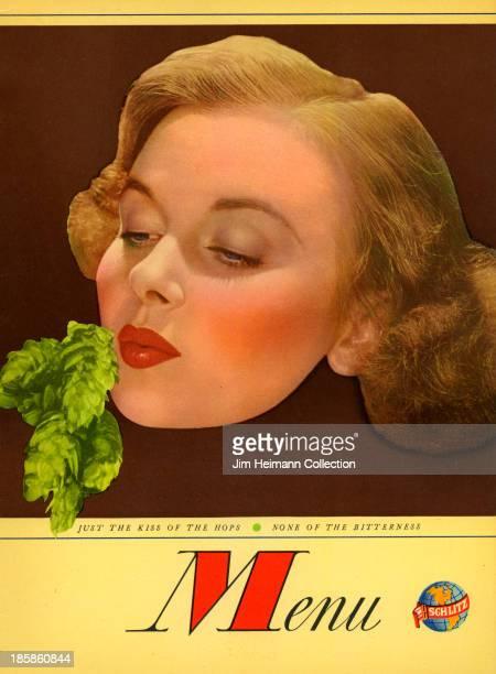 A menu for Schlitz reads 'Menu' from 1951 in USA