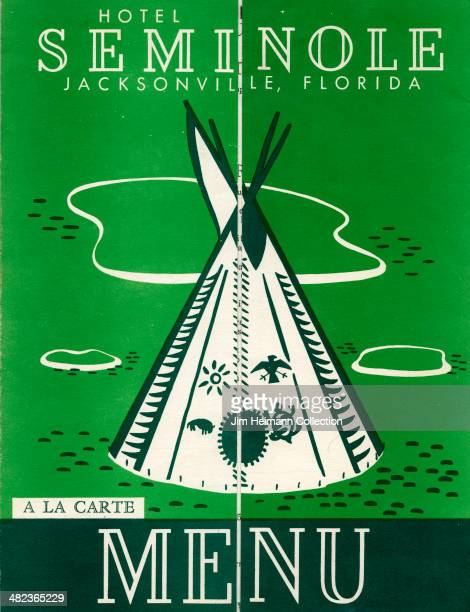 A menu for Seminole Hotel reads 'Seminole Hotel Jacksonville Florida A La Carte Menu' from 1955 in USA