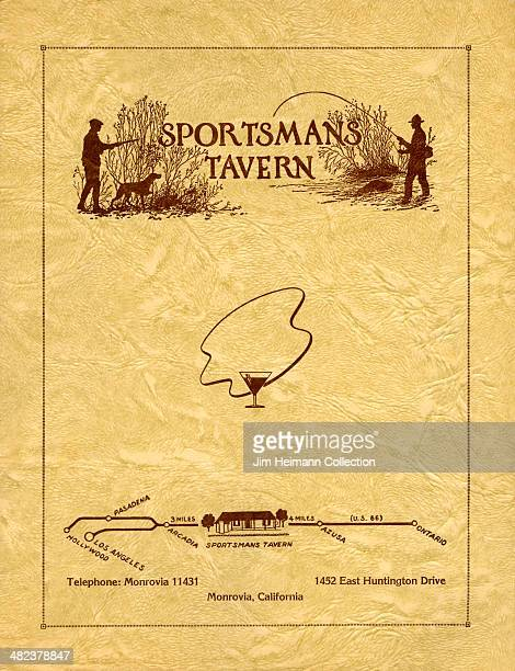 A menu for Sportsman Tavern reads 'Sportsman Tavern' from 1943 in USA