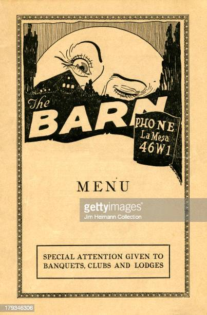 A menu for The Barn reads 'The Barn Menu' from 1927 in USA