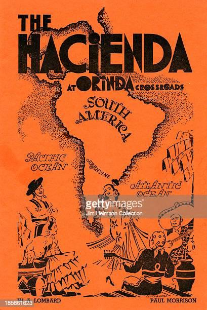 A menu for The Hacienda at Orinda Crossroads reads 'The Hacienda at Orinda Crossroads' from 1934 in USA