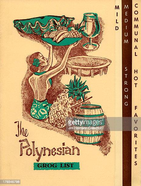 A menu for The Polynesian reads 'The Polynesian Grog List' from 1961 in USA