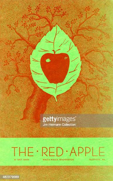 A menu for The Red Apple reads 'The Red Apple from 1947 in USA