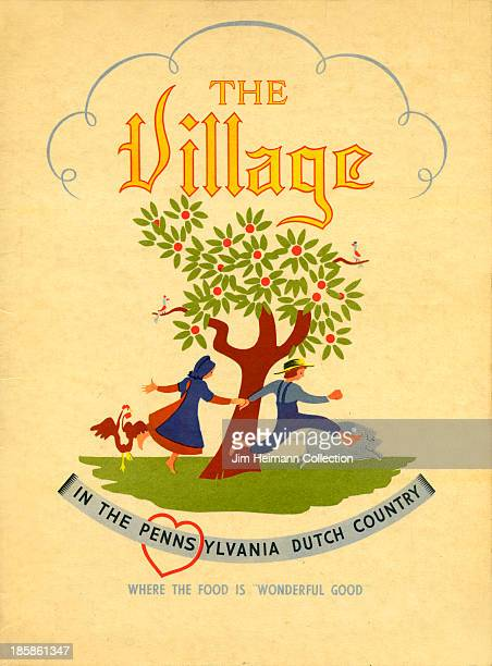 A menu for The Village reads 'The Village' from 1940 in USA