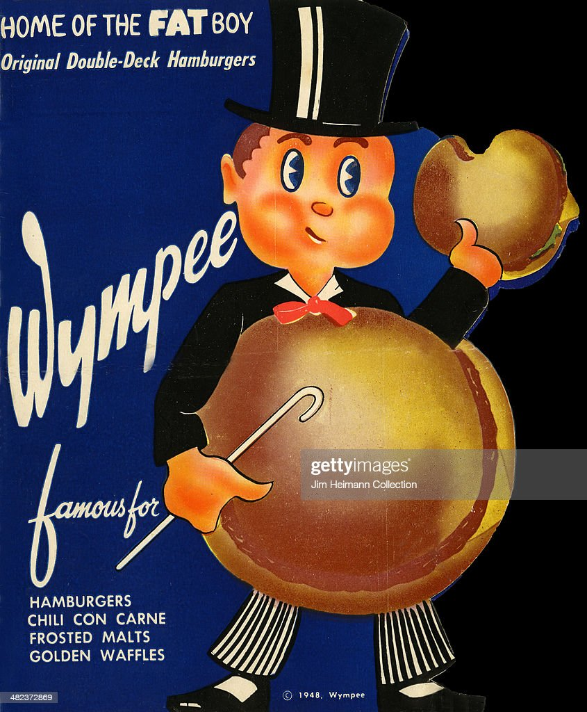 A menu for Wympee reads 'Wympee Home Of The Fat Boy Original DoubleDeck Hamburgers' from 1948 in USA
