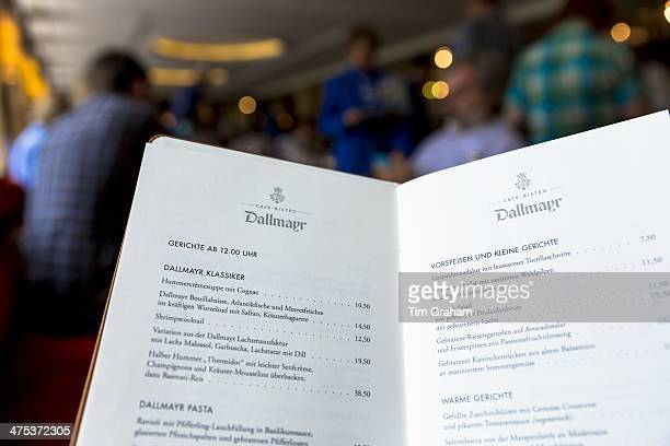 Menu in CafeBistro at Dallmayr food store in Munich in Bavaria Germany