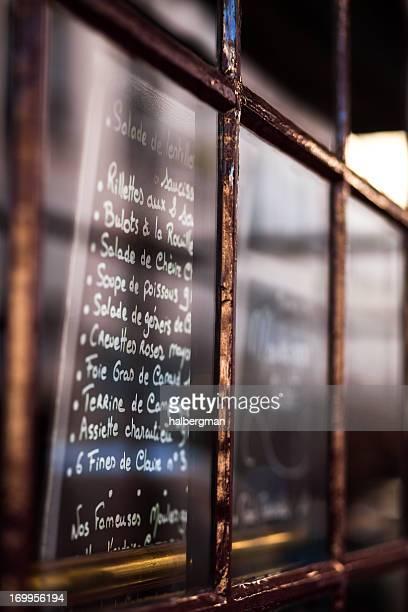 Menu in Paris Cafe
