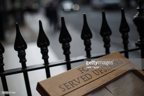 A menu is posted outside the Angel in the Fields pub in Marylebone is pictured on February 16 2017 in London England The Association for Licensed...