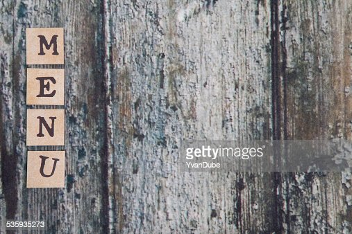 menu letters on wooden table : Stock Photo