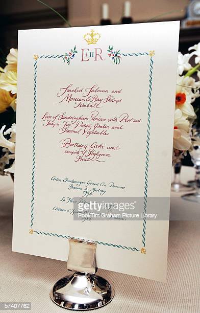Menu of smoked salmon venison Petrus red Bordeaux wine and Chateau d'Yquem dessert wine with birthday cake for 80th birthday dinner for Queen...