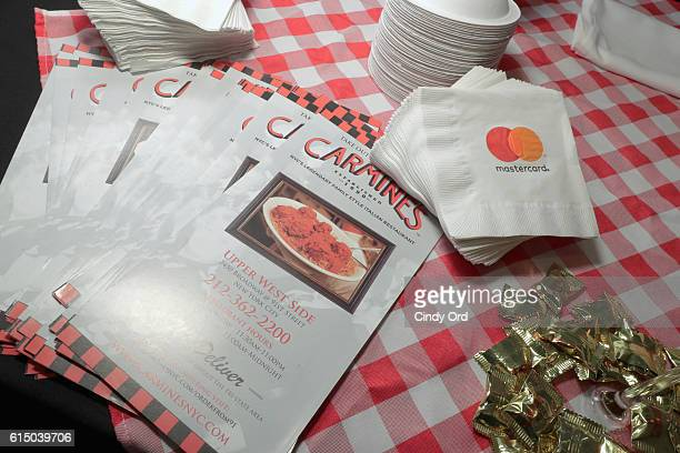 Menus on display at the Carmine's book during a MasterCard exclusive event Variety presents Broadway Tastes hosted by Neil Patrick Harris and David...